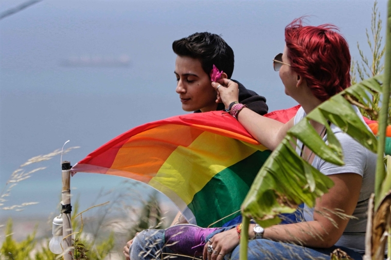 Members of Lebanon's LGBTQ community attend a picnic the coastal city of Batroun, north of Beirut, on May 21, 2017, as part of the Beirut Pride week AFP